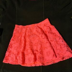Lace coral skater skirt.